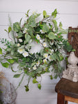 "22""  Beautiful Mixed Foliage Cream Floral Front Door Wreath"