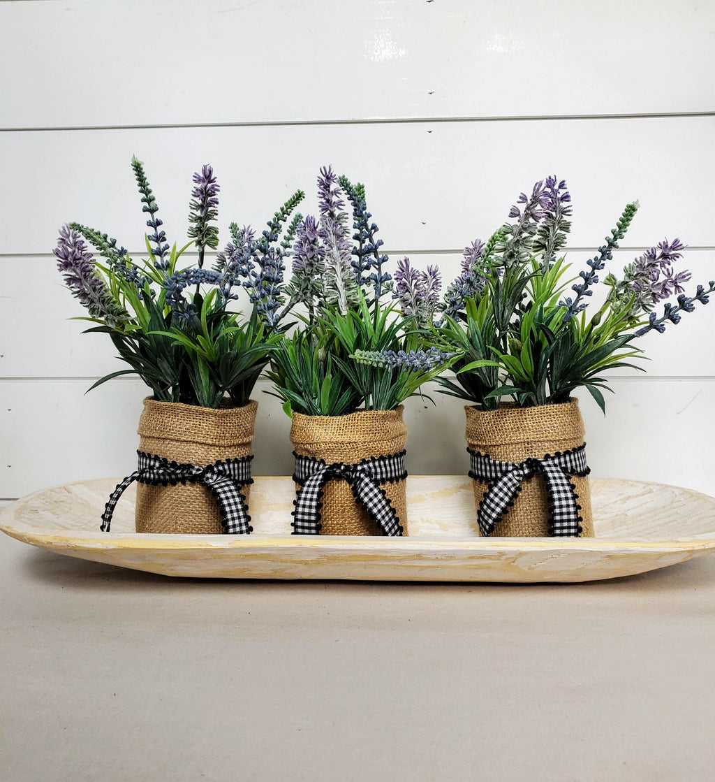 Set of 3 Lavender In Burlap Jars