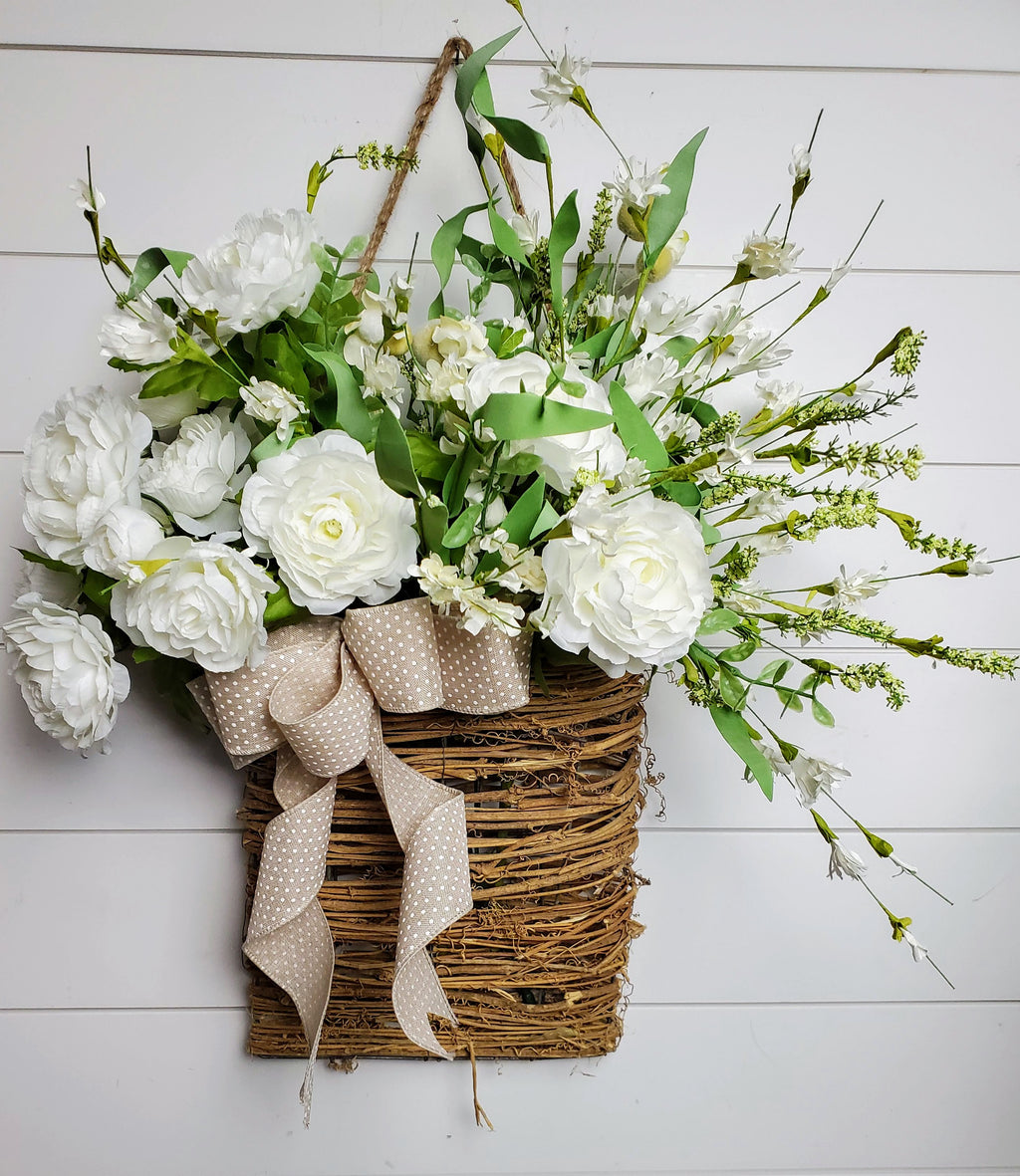 Beautiful White Ranunculus \  Blossom & Berry Door Hanger Basket