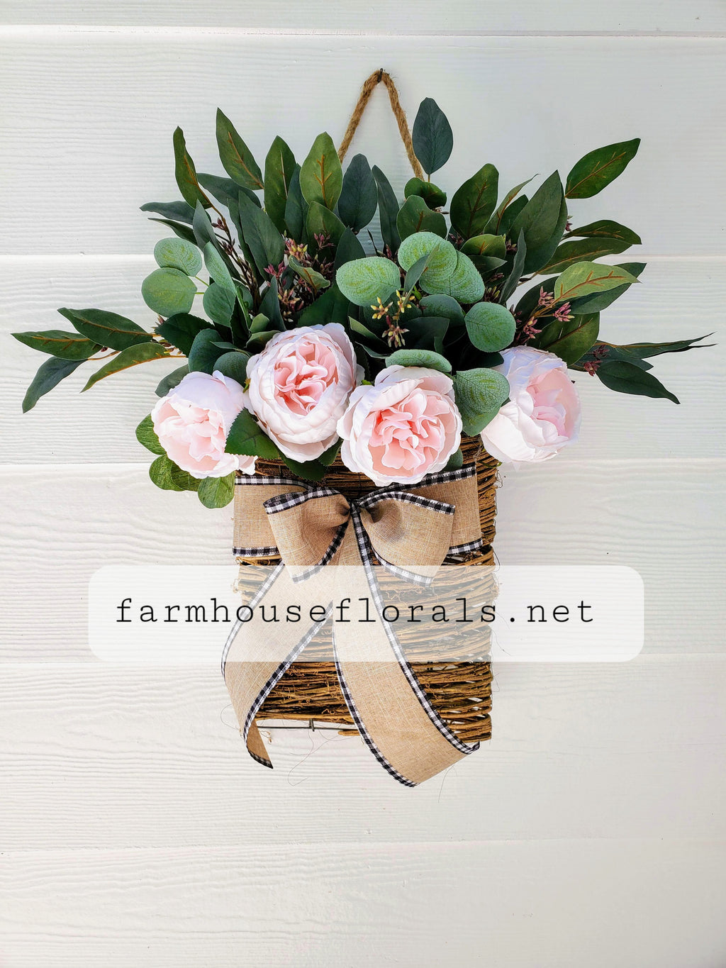 Beautiful Light Pink Peony / Eucalyptus Front Door Hanger Basket