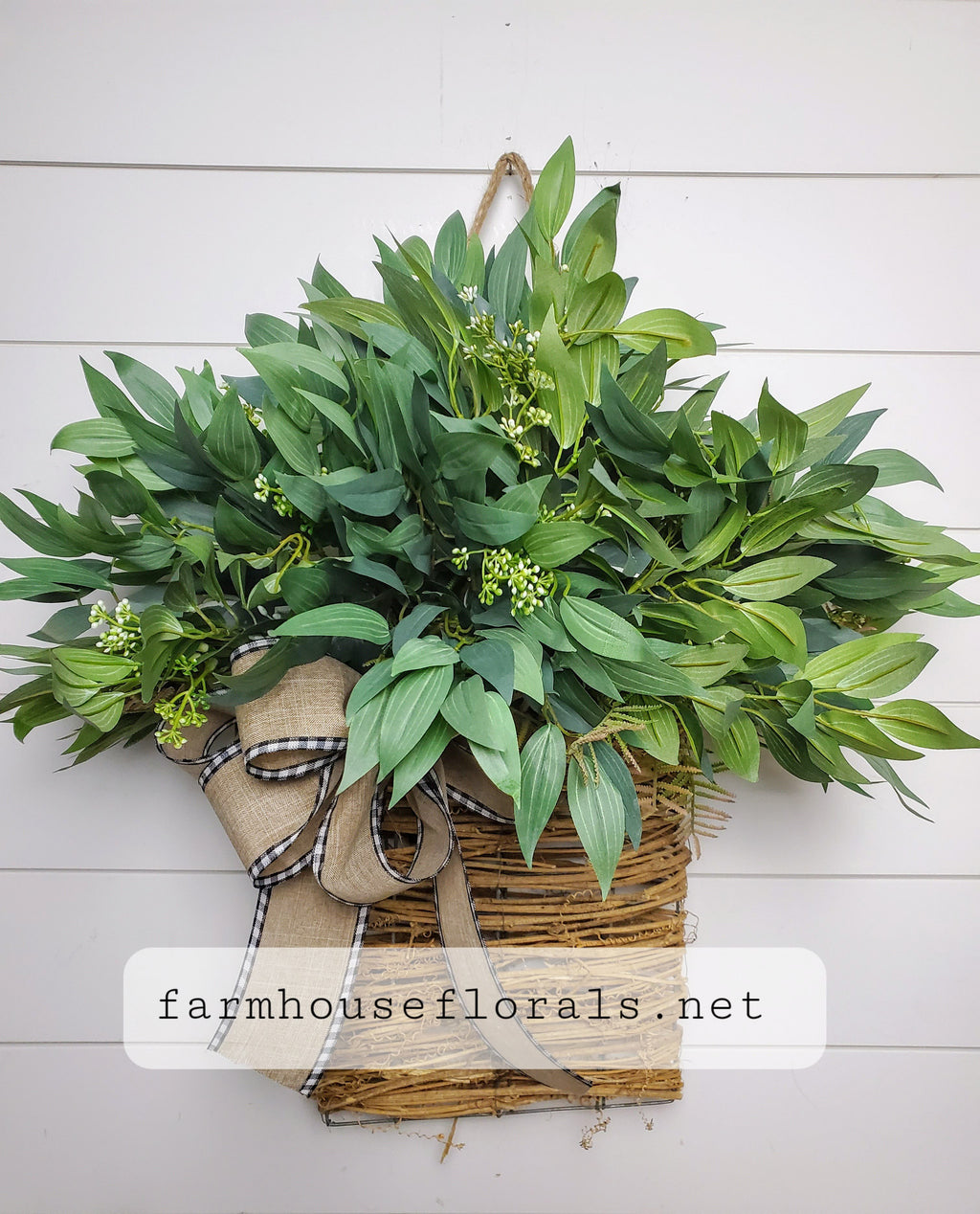 Mixed Forest  Greenery Door Hanger Basket