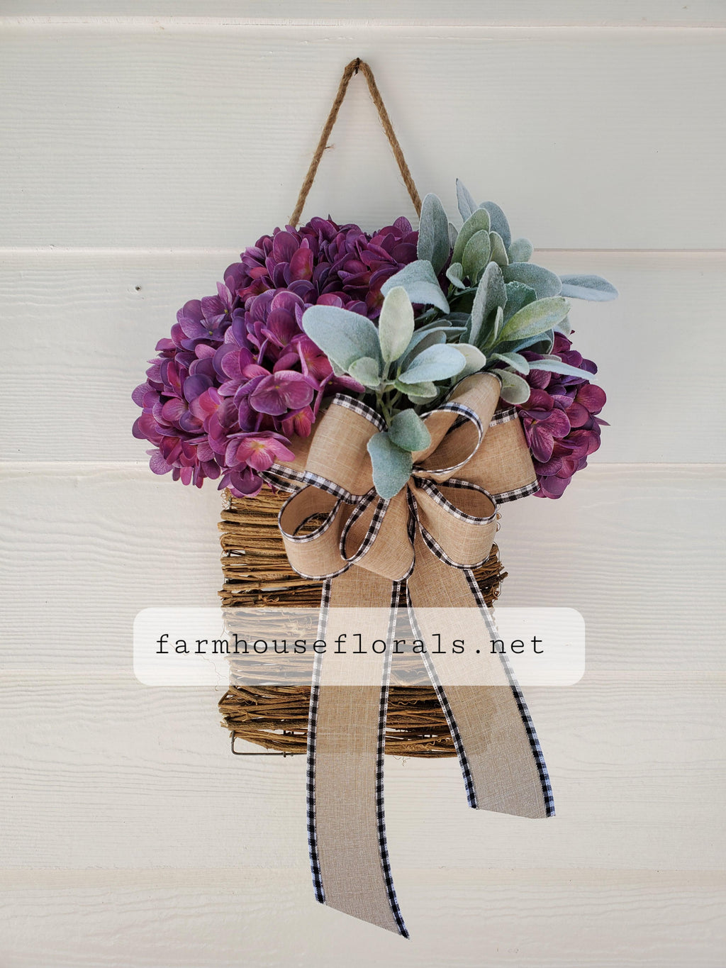 Purple Hydrangea Lambs Ear Door Hanger Basket