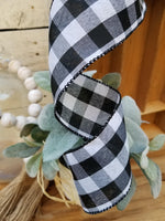 "2.5"" x 10 Yds Black and White Buffalo Plaid Wired Ribbon Ribbon and Bows - Farmhouse Florals"