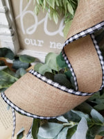 "2.5"" Black and White Gingham Edge Ribbon"