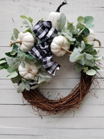 Buffalo Plaid Pumpkin Fall Front Door Wreath Fall - Farmhouse Florals