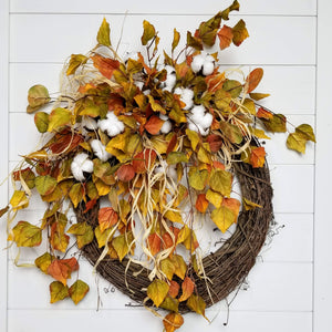 Gorgeous Cotton Fall Leaves Front Door Wreath