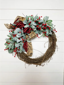 Buffalo Plaid Farmhouse Lambs Ear Christmas Wreath
