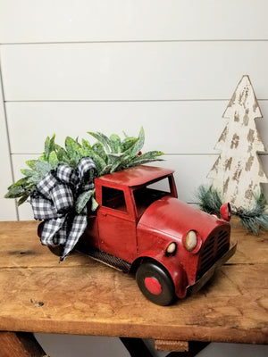 Red Metal Truck Christmas Centerpiece