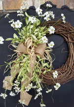 "26"" Spring / Summer Wild Flower Front Door Wreath  - Farmhouse Florals"