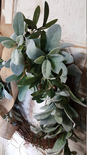 "26"" Lambs Ear Greenery Wreath  - Farmhouse Florals"