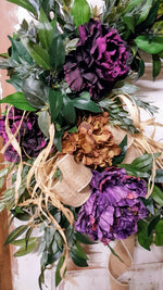Dark Purple Peony Front Door Wreath Everyday Wreath - Farmhouse Florals