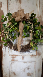 Farmhouse Style Front Door Wreath Everyday Wreath - Farmhouse Florals