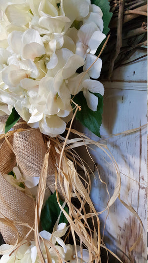 Cream Hydrangea Front door Wreath Everyday Wreath - Farmhouse Florals