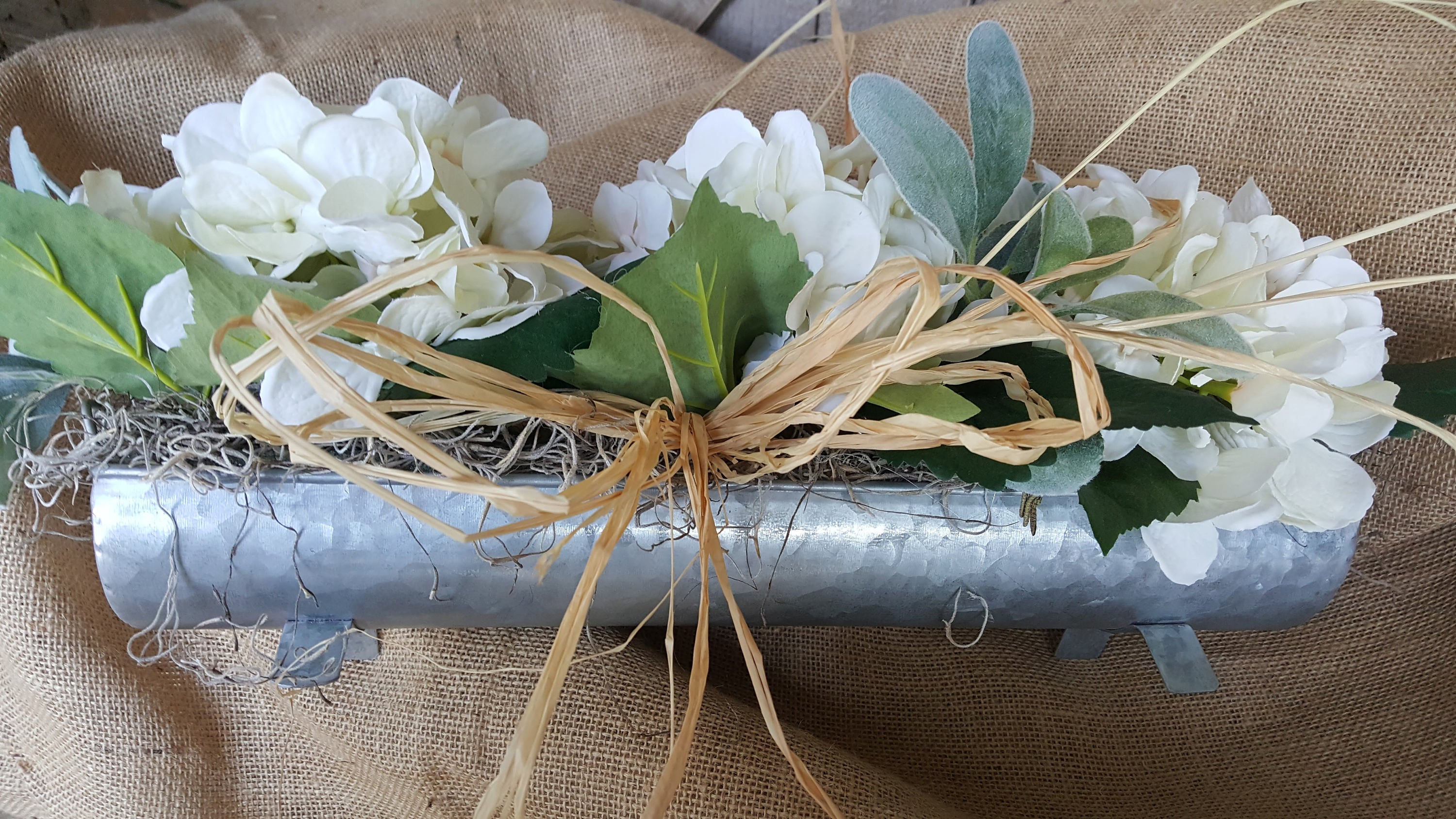 Hydrangea / Lambs Ear Arrangement  - Farmhouse Florals
