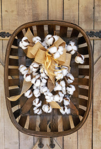 Farmhouse Cotton Boll Tobacco Basket Arrangement Farmhouse Style - Farmhouse Florals