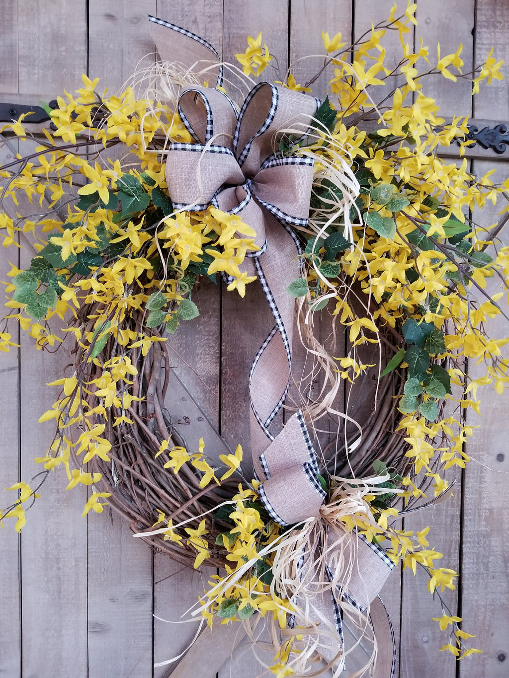 "24"" Forsythia Front Door Wreath  - Farmhouse Florals"