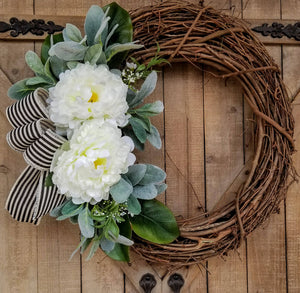 "21"" Peony Lambs Ear Front Door Wreath  - Farmhouse Florals"