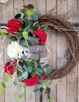 Hydrangea Eucalyptus Front Door Wreath Everyday Wreath - Farmhouse Florals