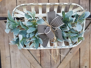 White Tobacco Basket Lambs Ear Wall Decor Farmhouse Style - Farmhouse Florals