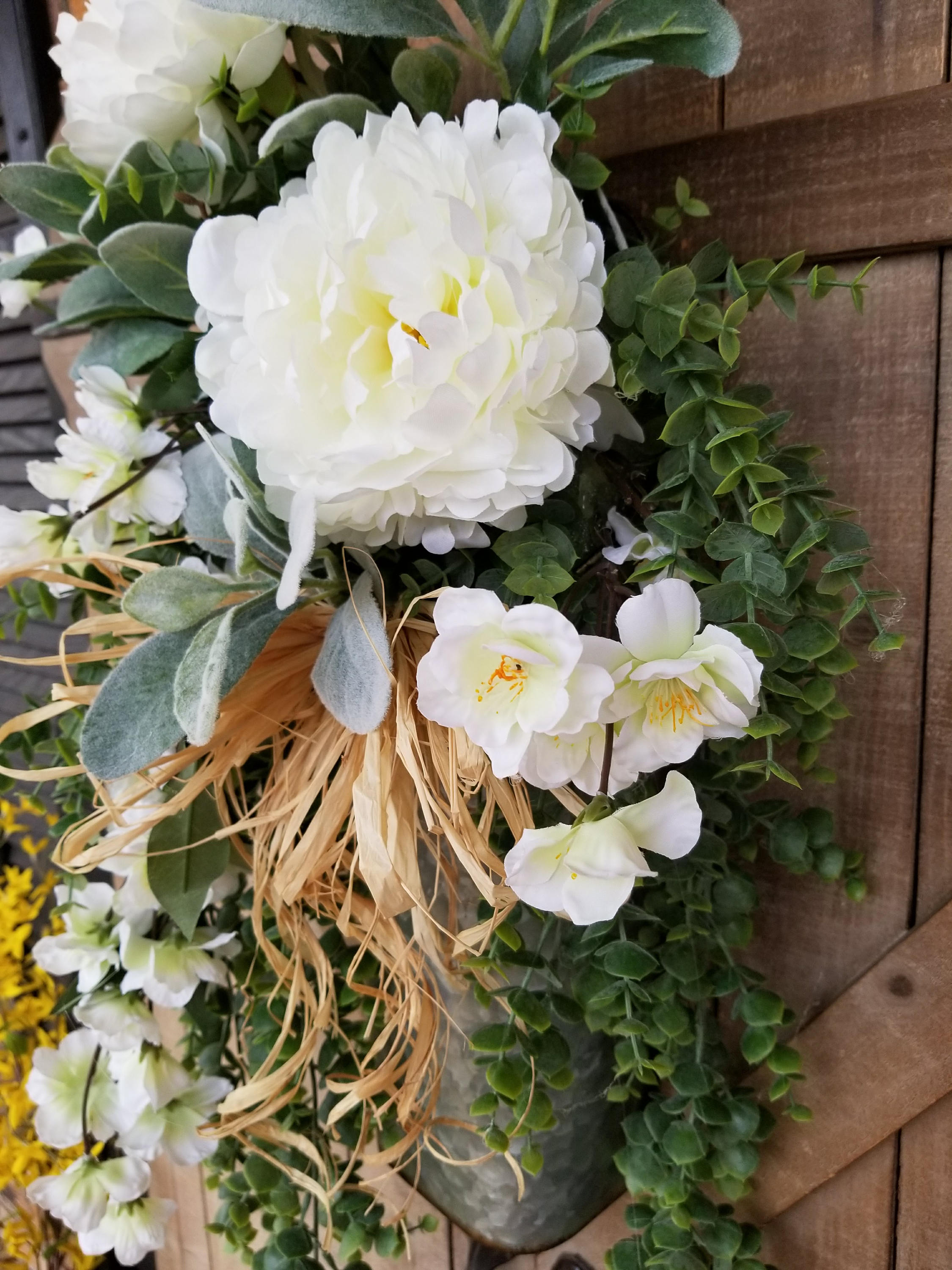 Peony / Lambs Ear Front Door Hanger Farmhouse Style - Farmhouse Florals