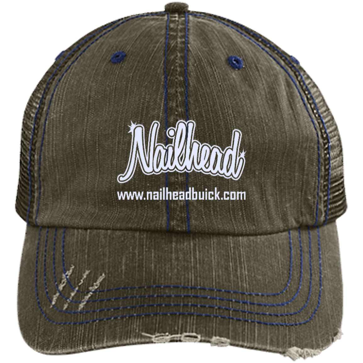 Nailhead Distressed Unstructured Trucker Cap