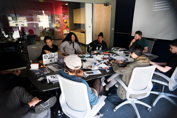 creative design workshop with students at Youth Radio