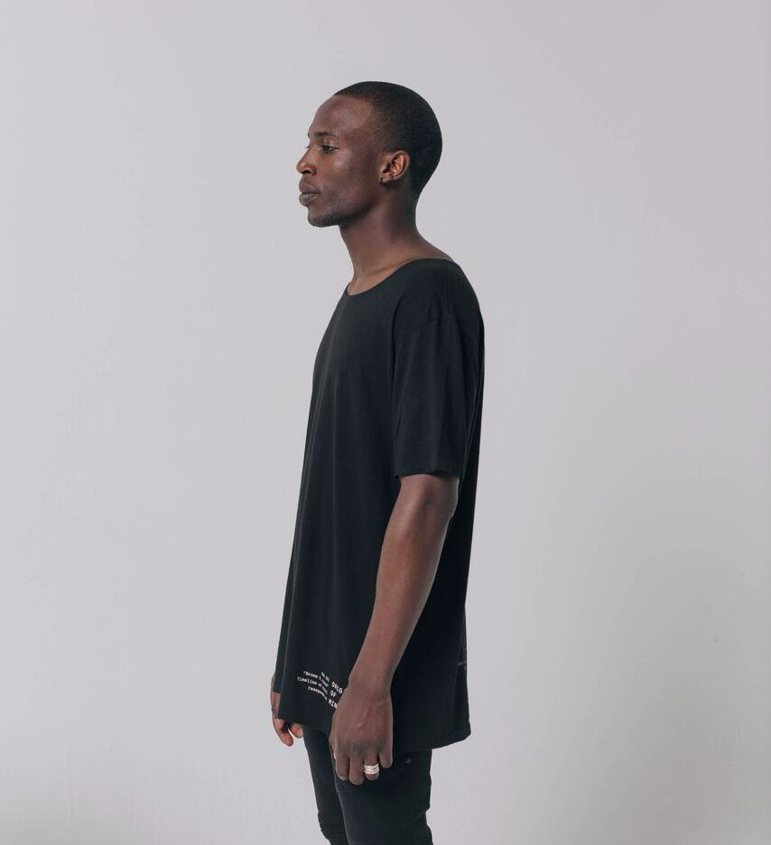 Brown v. Board longline streetwear tee left side profile