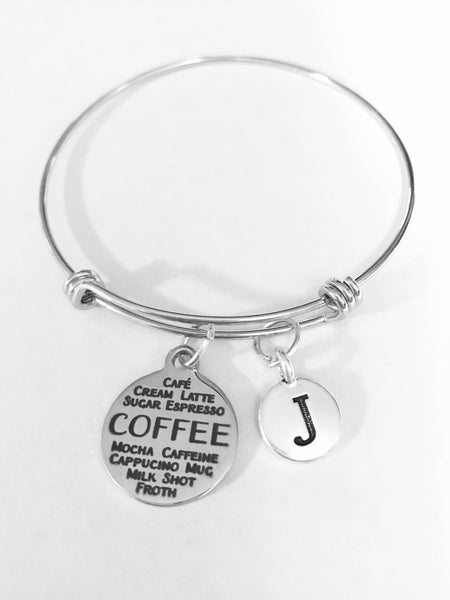 Coffee Initial Expandable Adjustable Bangle Charm Bracelet