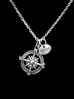 Compass Mom Travel Long Distance Nautical Mother Gift Necklace