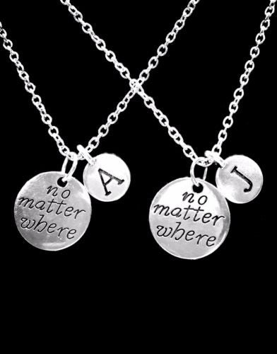 Choose Initials, No Matter Where Best Friend Sister Mom Gift Necklace Set