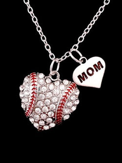 Crystal Baseball Heart Softball Mom Mother's Day Gift Sports Charm Necklace