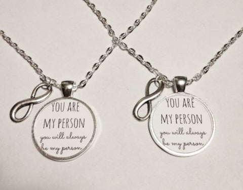 You Are My Person You're Best Friend Friends Sisters Infinity Gift Necklace Set