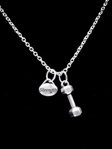 Inspirational Dumbbell Strength Gift Crossfit Fitness Necklace