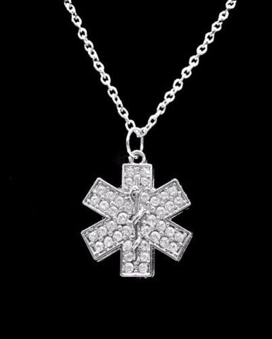 Crystal Star Of Life Paramedic EMT EMS Medical Gift Charm Necklace