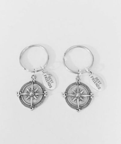 Compass BFF Best Friends Nautical Direction Long Distance Keychain Set