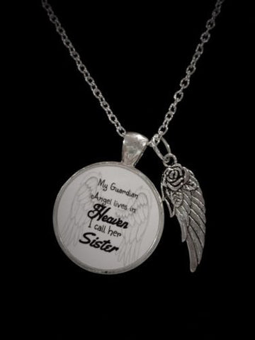 My Guardian Angel Lives In Heaven I Call Her Sister, In Memory, Wing Necklace