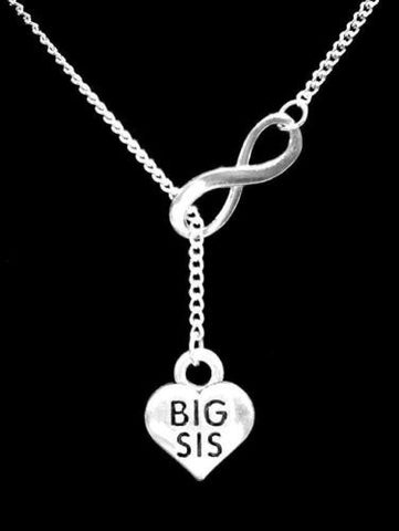 Infinity Big Sis Sister Christmas Gift Lariat Necklace