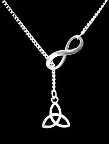 Infinity Celtic Knot Triquetra Irish Trinity Gift Lariat Necklace