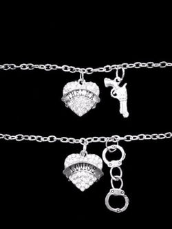 Best Friend Crystal Thelma Louise Gun Handcuffs Friends Sisters Bracelet Set