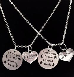 2 Necklaces Infinity I Love You To The Moon And Back Little Sister Big Sister