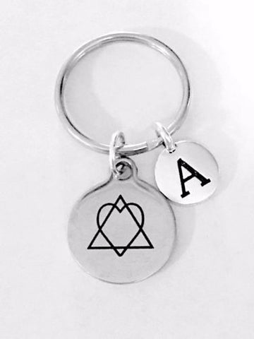Adoption Symbol Heart In Triangle Triad Adopt Mother's Day Initial Gift Keychain