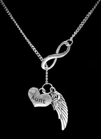Infinity Guardian Angel Wing Aunt In Memory Heaven Y Lariat Necklace
