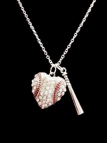 Crystal Baseball Heart Bat Softball Mom Gift Sports Charm Necklace