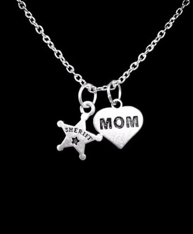 Sheriff Badge Deputy Mom Mother's Day Gift Police Charm Necklace