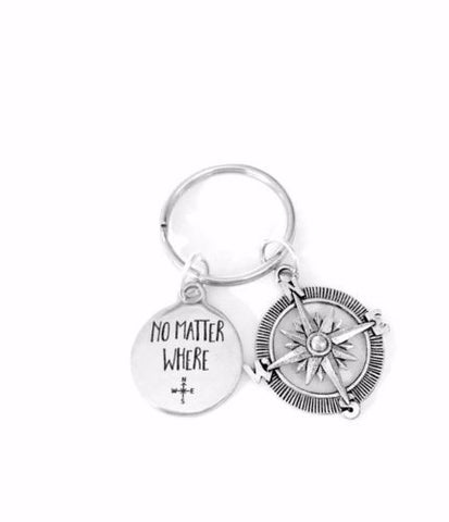 No Matter Where Compass Long Distance Friend Sister Mom Daughter Gift Keychain