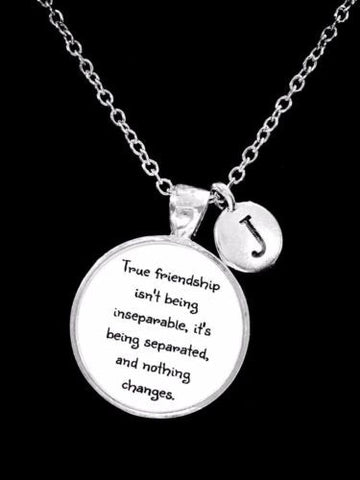 Choose Initial, True Friendship Long Distance Best Friend Sister Gift Necklace