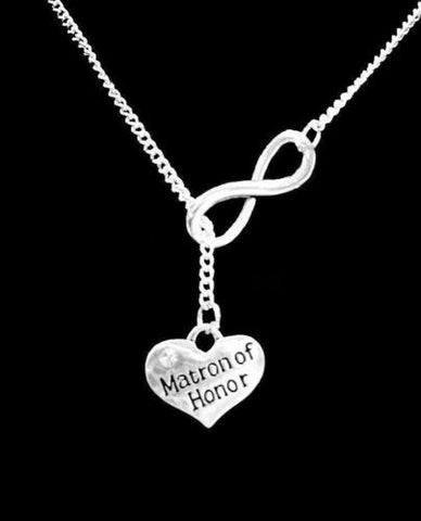 Infinity Matron Of Honor Gift Wedding Party Bridal Y Lariat Style Necklace