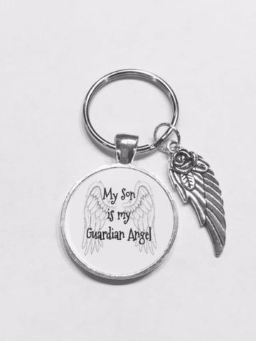 My Son Is My Guardian Angel In Memory Sympathy Gift Keychain