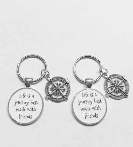 Compass Life Is A Journey Best Made With Friends Best Friend Gift Keychain Set