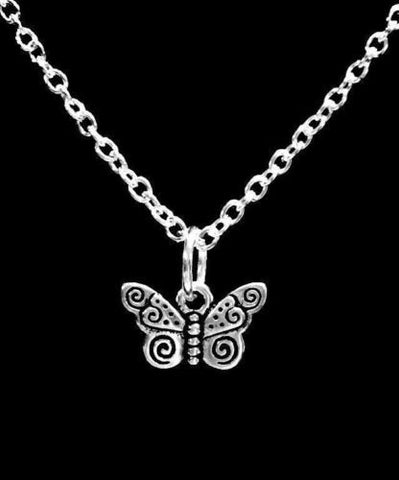 Spiral Butterfly Charm Gift Animal Insect Daughter Necklace